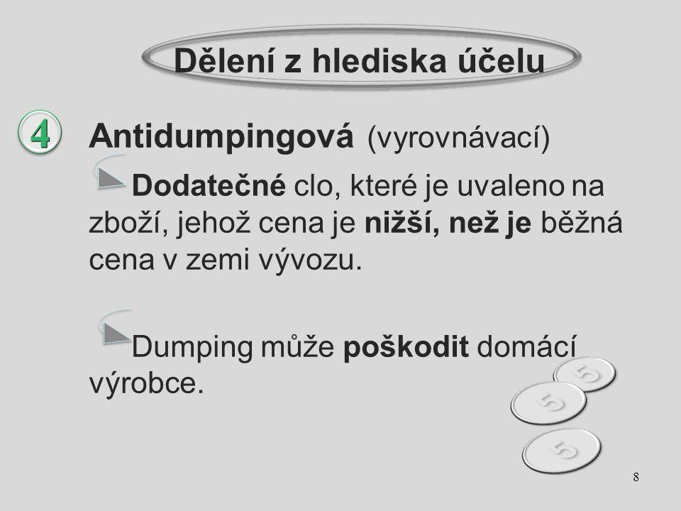 Dělení z hlediska účelu Antidumpingová (vyrovnávací) Dodatečné clo, které je uvaleno na zboží, jehož cena je nižší, než je běžná cena v zemi vývozu. D