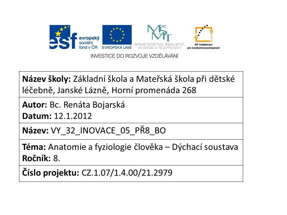 Název školy: Základní škola a Mateřská škola při dětské léčebně, Janské Lázně, Horní promenáda 268 Autor: Bc.