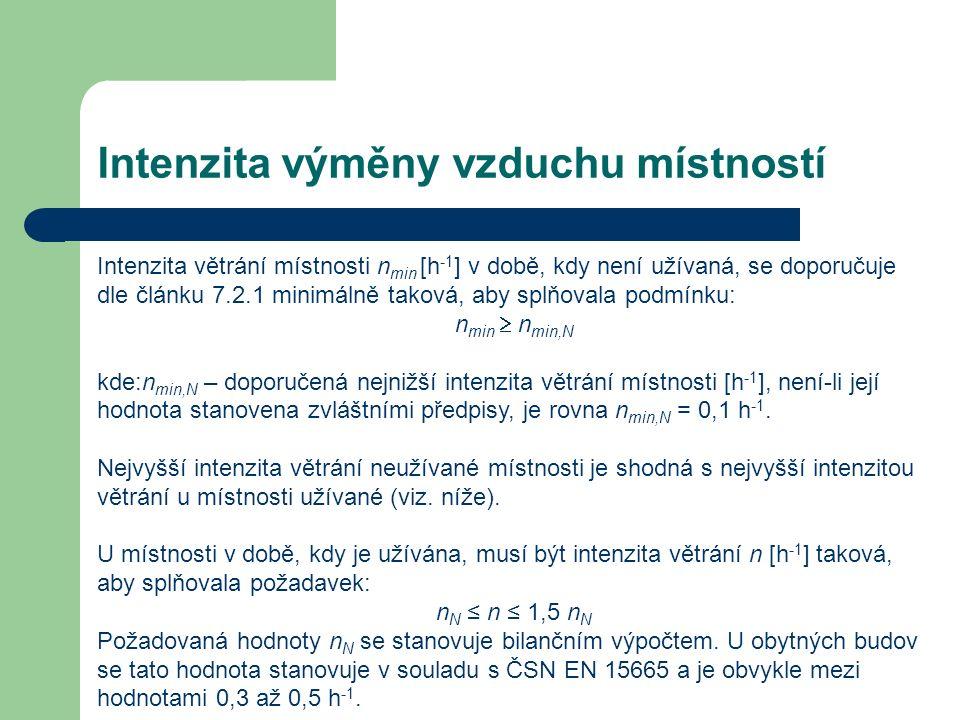 Intenzita výměny vzduchu místností Intenzita větrání místnosti n min [h -1 ] v době, kdy není užívaná, se doporučuje dle článku 7.2.1 minimálně taková, aby splňovala podmínku: n min  n min,N kde:n min,N – doporučená nejnižší intenzita větrání místnosti [h -1 ], není-li její hodnota stanovena zvláštními předpisy, je rovna n min,N = 0,1 h -1.
