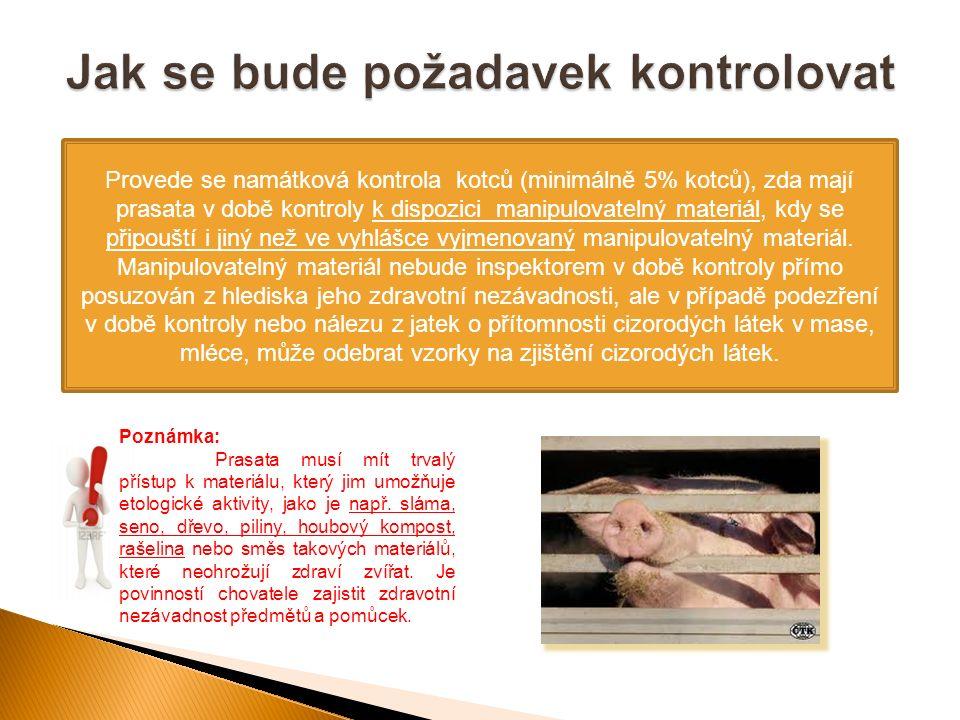 Provede se namátková kontrola kotců (minimálně 5% kotců), zda mají prasata v době kontroly k dispozici manipulovatelný materiál, kdy se připouští i jiný než ve vyhlášce vyjmenovaný manipulovatelný materiál.
