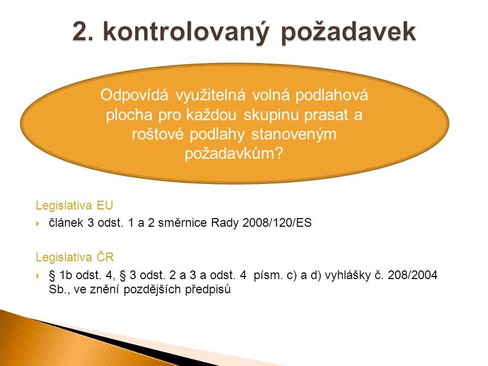 Legislativa EU  článek 3 odst. 1 a 2 směrnice Rady 2008/120/ES Legislativa ČR  § 1b odst. 4, § 3 odst. 2 a 3 a odst. 4 písm. c) a d) vyhlášky č. 208