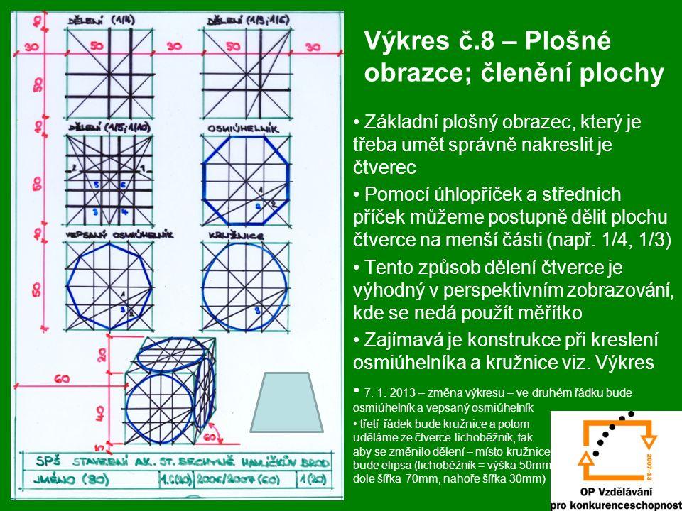 Výkres č.8 – Plošné obrazce; členění plochy Základní plošný obrazec, který je třeba umět správně nakreslit je čtverec Pomocí úhlopříček a středních př