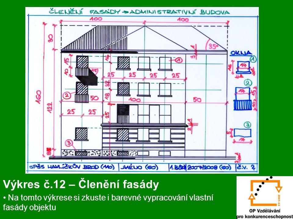 Výkres č.12 – Členění fasády Na tomto výkrese si zkuste i barevné vypracování vlastní fasády objektu