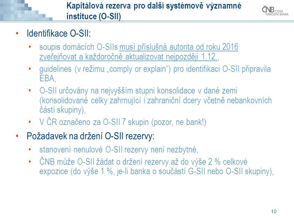 """10 Kapitálová rezerva pro další systémově významné instituce (O-SII) Identifikace O-SII: soupis domácích O-SIIs musí příslušná autorita od roku 2016 zveřejňovat a každoročně aktualizovat nejpozději 1.12., guidelines (v režimu """"comply or explain ) pro identifikaci O-SII připravila EBA, O-SII určovány na nejvyšším stupni konsolidace v dané zemi (konsolidované celky zahrnující i zahraniční dcery včetně nebankovních částí skupiny), V ČR označeno za O-SII 7 skupin (pozor, ne bank!) Požadavek na držení O-SII rezervy: stanovení nenulové O-SII rezervy není nezbytné, ČNB může O-SII žádat o držení rezervy až do výše 2 % celkové expozice (do výše 1 %, je-li banka o součástí G-SII nebo O-SII skupiny),"""