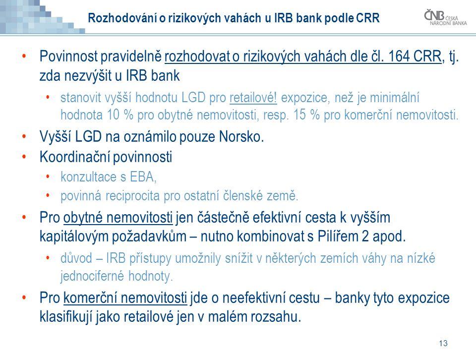 Rozhodování o rizikových vahách u IRB bank podle CRR Povinnost pravidelně rozhodovat o rizikových vahách dle čl.