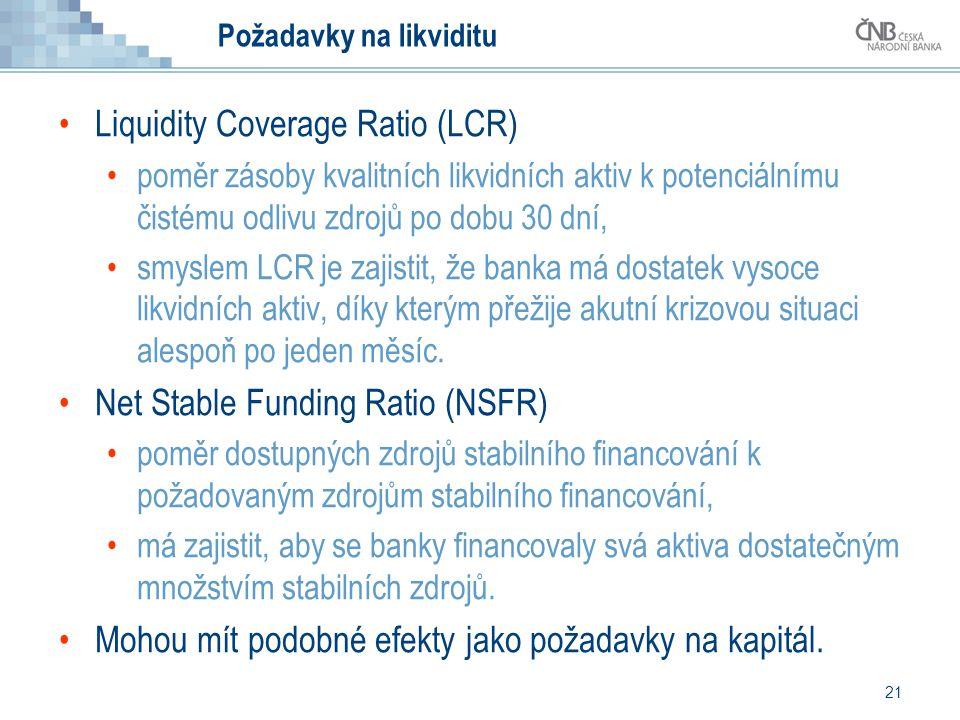 21 Požadavky na likviditu Liquidity Coverage Ratio (LCR) poměr zásoby kvalitních likvidních aktiv k potenciálnímu čistému odlivu zdrojů po dobu 30 dní, smyslem LCR je zajistit, že banka má dostatek vysoce likvidních aktiv, díky kterým přežije akutní krizovou situaci alespoň po jeden měsíc.