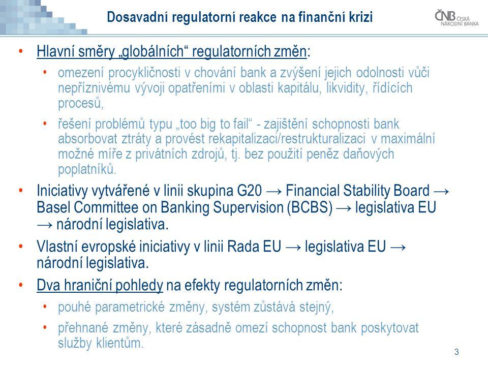 """3 Dosavadní regulatorní reakce na finanční krizi Hlavní směry """"globálních regulatorních změn: omezení procykličnosti v chování bank a zvýšení jejich odolnosti vůči nepříznivému vývoji opatřeními v oblasti kapitálu, likvidity, řídících procesů, řešení problémů typu """"too big to fail - zajištění schopnosti bank absorbovat ztráty a provést rekapitalizaci/restrukturalizaci v maximální možné míře z privátních zdrojů, tj."""