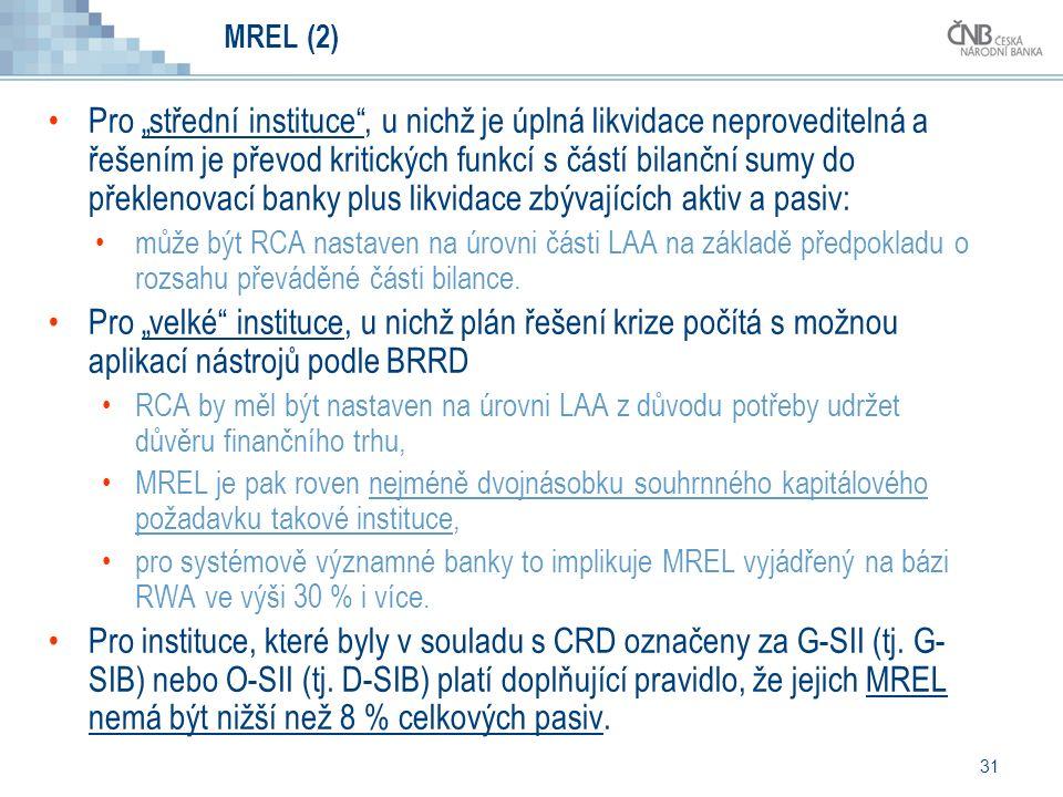 """31 MREL (2) Pro """"střední instituce , u nichž je úplná likvidace neproveditelná a řešením je převod kritických funkcí s částí bilanční sumy do překlenovací banky plus likvidace zbývajících aktiv a pasiv: může být RCA nastaven na úrovni části LAA na základě předpokladu o rozsahu převáděné části bilance."""