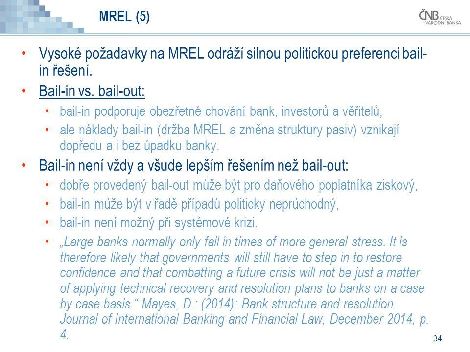 34 MREL (5) Vysoké požadavky na MREL odráží silnou politickou preferenci bail- in řešení.