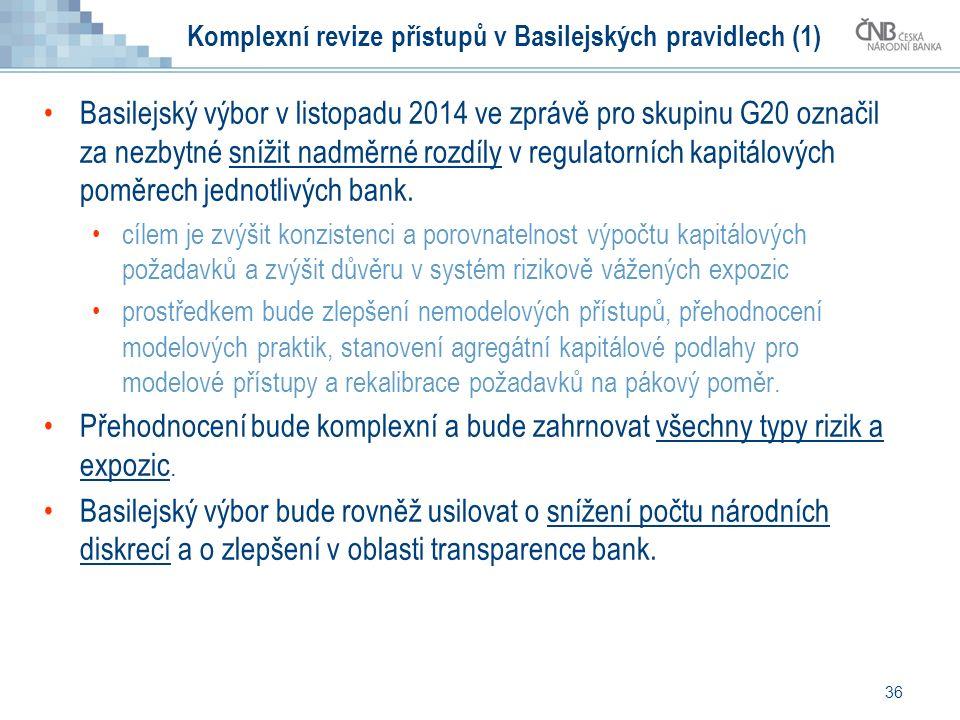 36 Komplexní revize přístupů v Basilejských pravidlech (1) Basilejský výbor v listopadu 2014 ve zprávě pro skupinu G20 označil za nezbytné snížit nadměrné rozdíly v regulatorních kapitálových poměrech jednotlivých bank.