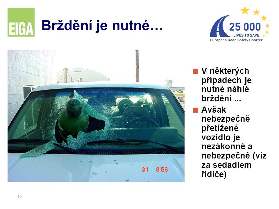 12 Brždění je nutné… V některých případech je nutné náhlé brždění... Avšak nebezpečně přetížené vozidlo je nezákonné a nebezpečné (viz za sedadlem řid
