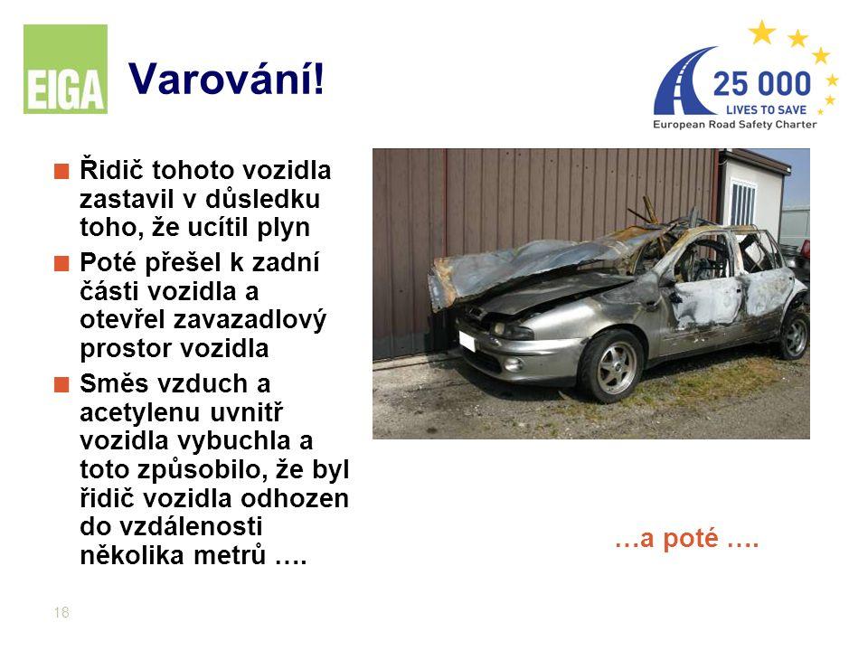 18 Varování! Řidič tohoto vozidla zastavil v důsledku toho, že ucítil plyn Poté přešel k zadní části vozidla a otevřel zavazadlový prostor vozidla Smě