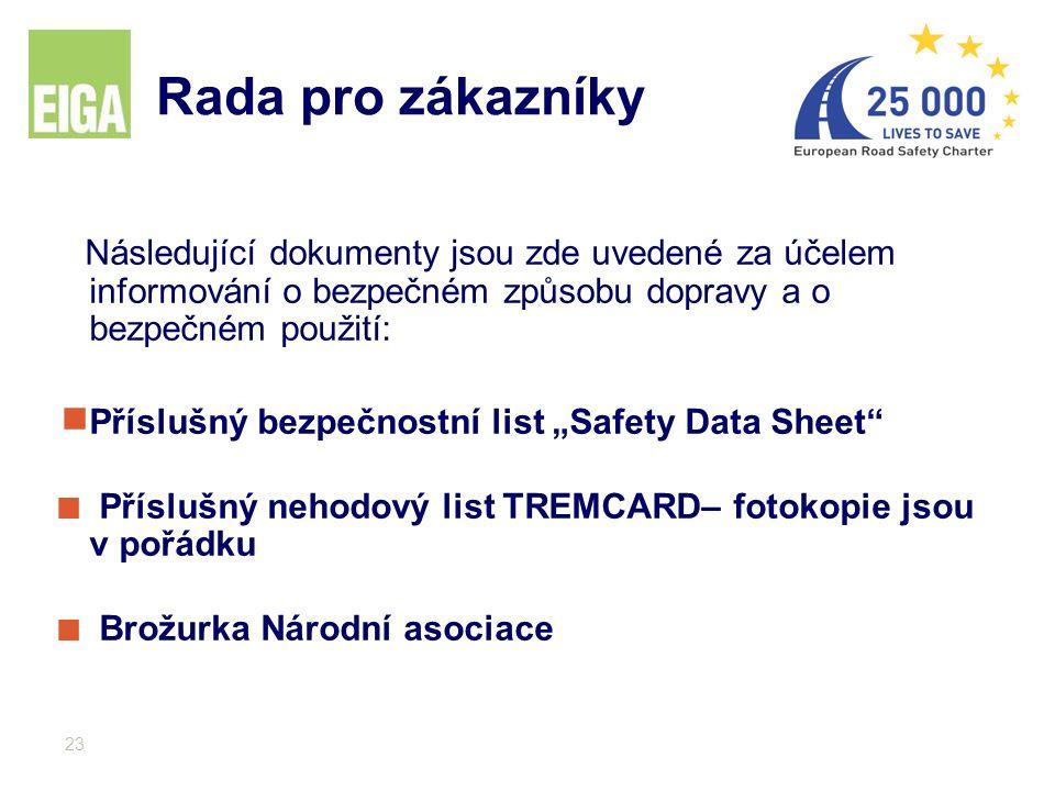 """23 Následující dokumenty jsou zde uvedené za účelem informování o bezpečném způsobu dopravy a o bezpečném použití:  Příslušný bezpečnostní list """"Safe"""