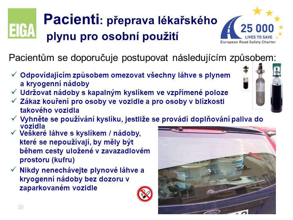 30 Pacienti : přeprava lékařského plynu pro osobní použití Pacientům se doporučuje postupovat následujícím způsobem: Odpovídajícím způsobem omezovat v