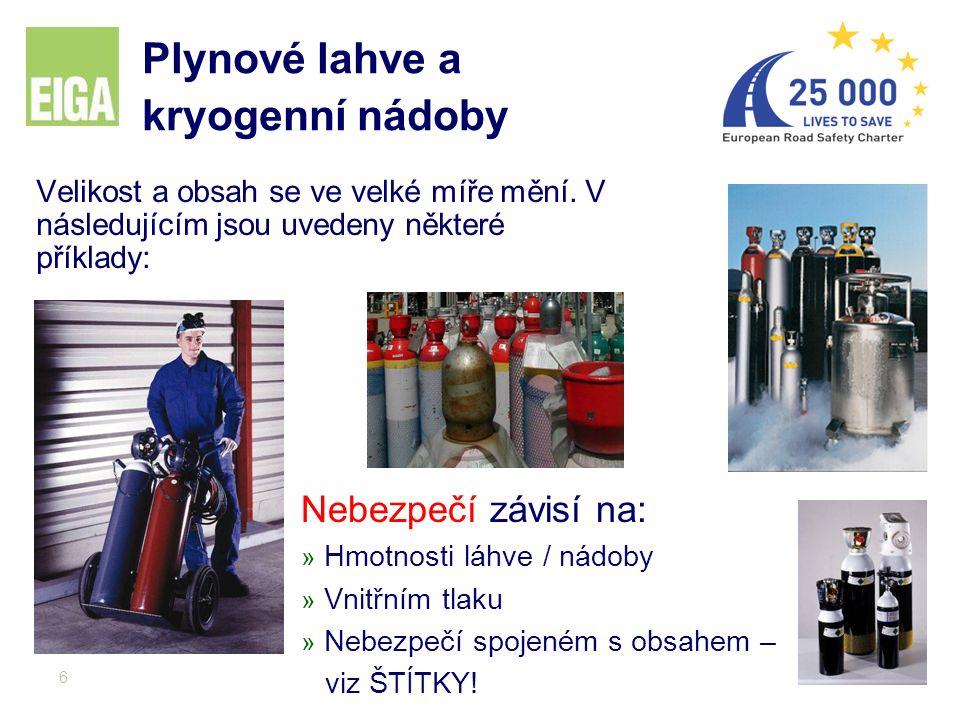 6 Plynové lahve a kryogenní nádoby Velikost a obsah se ve velké míře mění. V následujícím jsou uvedeny některé příklady: Nebezpečí závisí na: » Hmotno