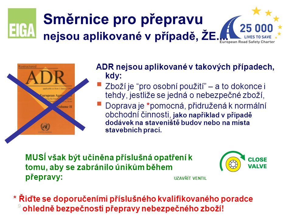 """9 Směrnice pro přepravu nejsou aplikované v případě, ŽE.... ADR nejsou aplikované v takových případech, kdy:  Zboží je """"pro osobní použití"""" – a to do"""