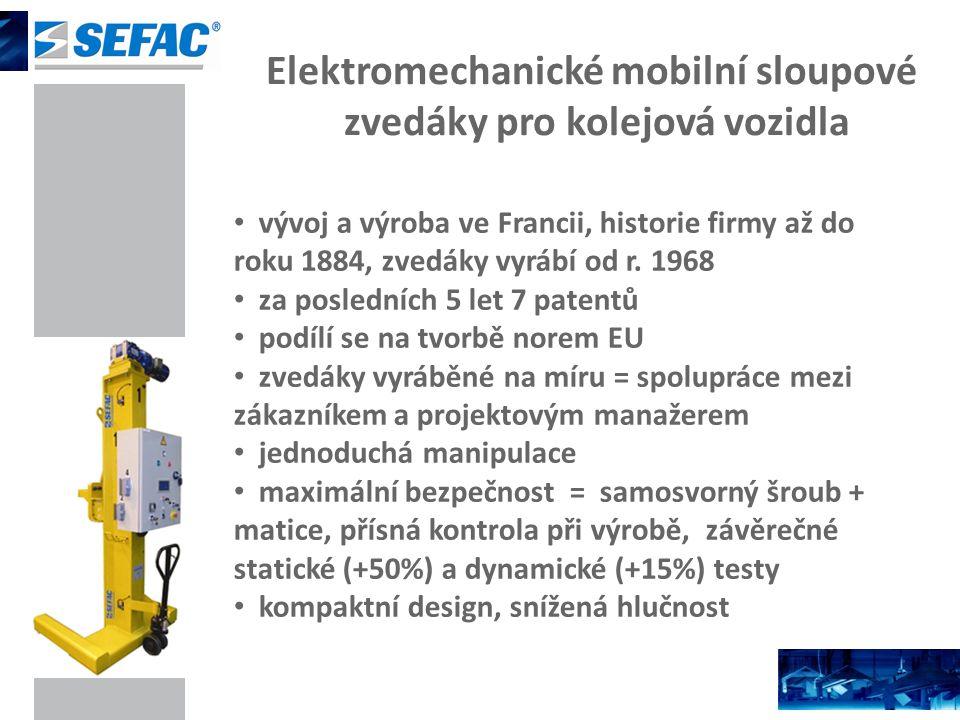 Elektromechanické mobilní sloupové zvedáky pro kolejová vozidla vývoj a výroba ve Francii, historie firmy až do roku 1884, zvedáky vyrábí od r. 1968 z