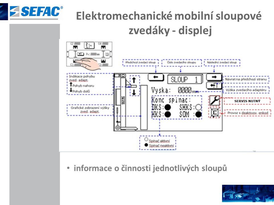 Elektromechanické mobilní sloupové zvedáky - displej informace o činnosti jednotlivých sloupů