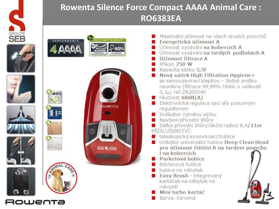 Rowenta Silence Force Compact AAAA Animal Care : RO6383EA Maximální účinnost na všech druzích povrchů Energetická účinnost A Účinnost vysávání na kobercích A Účinnost vysávání na tvrdých podlahách A Účinnost filtrace A Příkon 750 W Kapacita sáčku 3,5l Nový sáček High Filtration Hygiene+ se samouzavírací klapkou – žádné smítko neunikne (filtrace 99,99% částic o velikosti 0,3ref.ZR200540 Hlučnost 68dB(A) Elektronická regulace sací síly posuvným regulátorem Indikátor výměny sáčku Navíjení přívodní šňůry Délka přívodní šňůry/akční radius 8,4/11m PŘÍSLUŠENSTVÍ: teleskopická kovová sací trubice Unikátní univerzální hubice Deep Clean Head pro účinnost čištění A na tvrdém povrchu i na kobercích Parketová hubice štěrbinová hubice hubice na nábytek Easy Brush - integrovaný kartáček na nábytek na rukojeti Mini turbo kartáč Barva: červená
