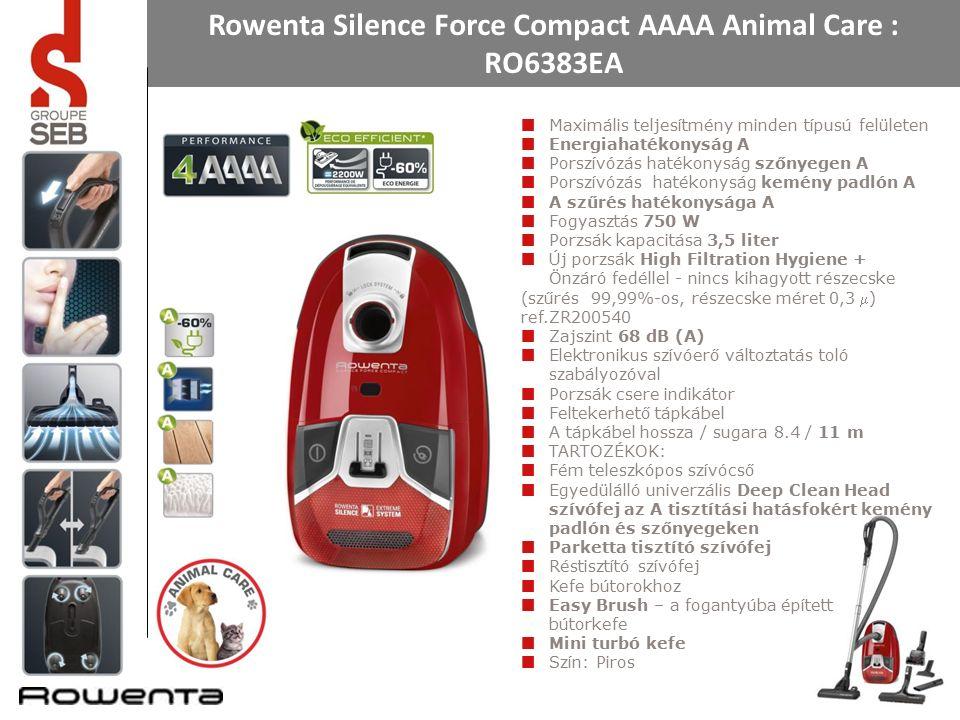 Rowenta Silence Force Compact AAAA Animal Care : RO6383EA Maximális teljesítmény minden típusú felületen Energiahatékonyság A Porszívózás hatékonyság szőnyegen A Porszívózás hatékonyság kemény padlón A A szűrés hatékonysága A Fogyasztás 750 W Porzsák kapacitása 3,5 liter Új porzsák High Filtration Hygiene + Önzáró fedéllel - nincs kihagyott részecske (szűrés 99,99%-os, részecske méret 0,3 ) ref.ZR200540 Zajszint 68 dB (A) Elektronikus szívóerő változtatás toló szabályozóval Porzsák csere indikátor Feltekerhető tápkábel A tápkábel hossza / sugara 8.4 / 11 m TARTOZÉKOK: Fém teleszkópos szívócső Egyedülálló univerzális Deep Clean Head szívófej az A tisztítási hatásfokért kemény padlón és szőnyegeken Parketta tisztító szívófej Réstisztító szívófej Kefe bútorokhoz Easy Brush – a fogantyúba épített bútorkefe Mini turbó kefe Szín: Piros
