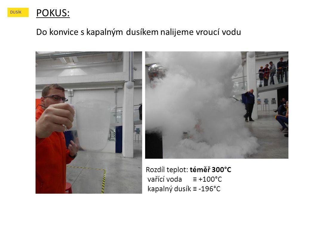 POKUS: DUSÍK Do konvice s kapalným dusíkem nalijeme vroucí vodu Rozdíl teplot: téměř 300°C vařící voda ≡ +100°C kapalný dusík ≡ -196°C
