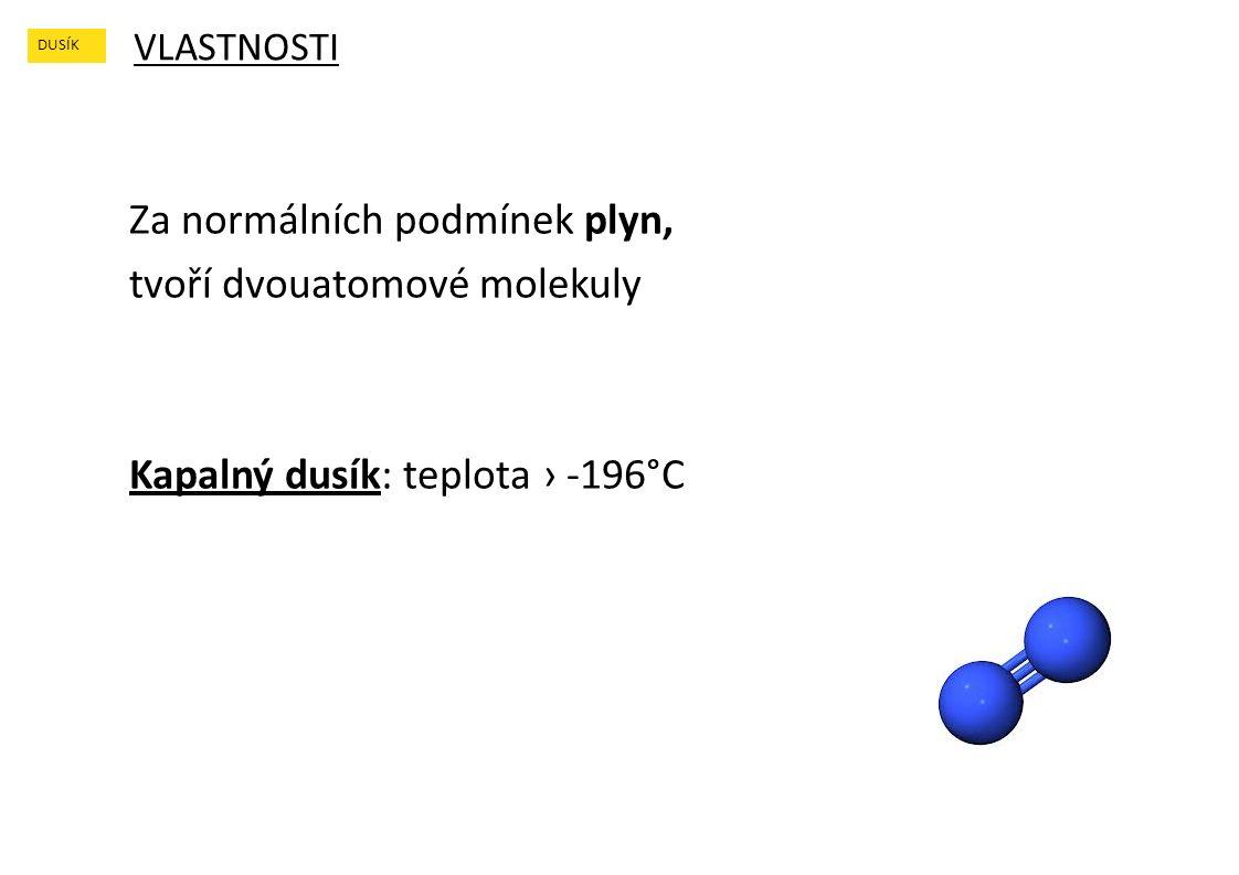 VLASTNOSTI DUSÍK Za normálních podmínek plyn, tvoří dvouatomové molekuly Kapalný dusík: teplota › -196°C