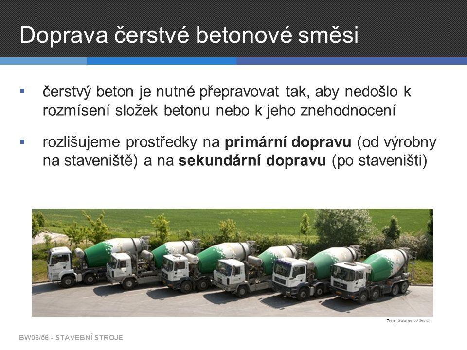 Doprava čerstvé betonové směsi  čerstvý beton je nutné přepravovat tak, aby nedošlo k rozmísení složek betonu nebo k jeho znehodnocení  rozlišujeme prostředky na primární dopravu (od výrobny na staveniště) a na sekundární dopravu (po staveništi) BW06/56 - STAVEBNÍ STROJE Zdroj: www.presskithc.cz