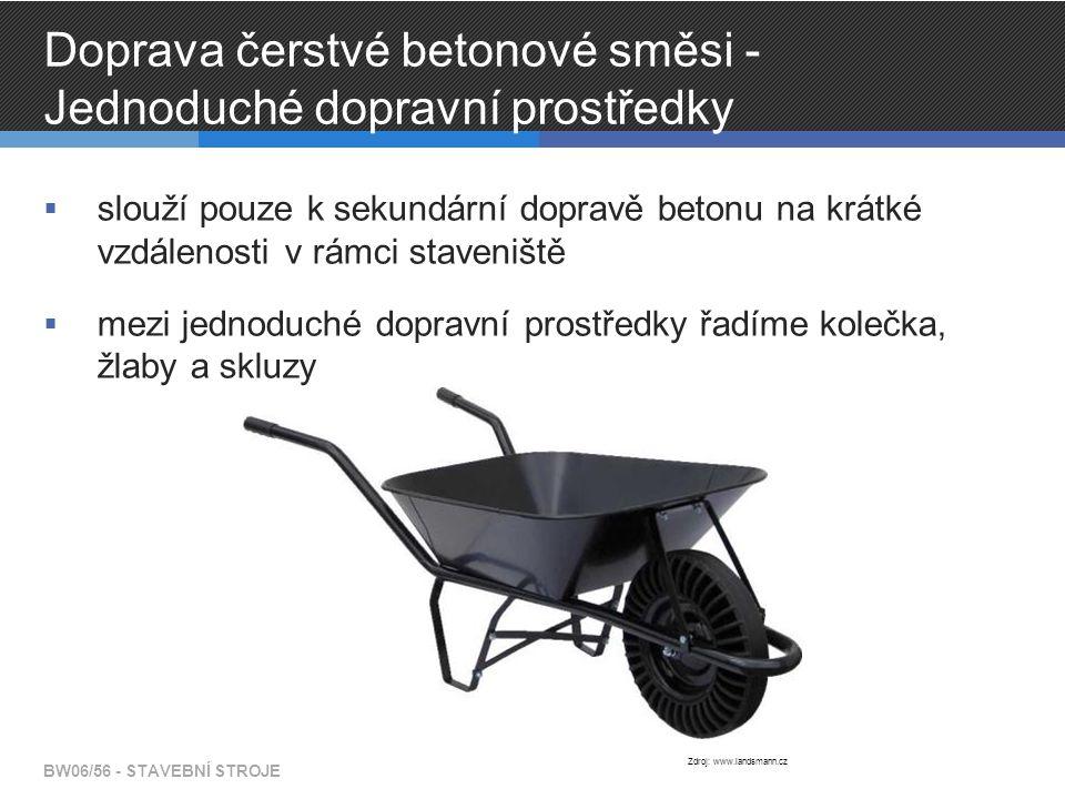 Doprava čerstvé betonové směsi - Jednoduché dopravní prostředky  slouží pouze k sekundární dopravě betonu na krátké vzdálenosti v rámci staveniště  mezi jednoduché dopravní prostředky řadíme kolečka, žlaby a skluzy BW06/56 - STAVEBNÍ STROJE Zdroj: www.landsmann.cz