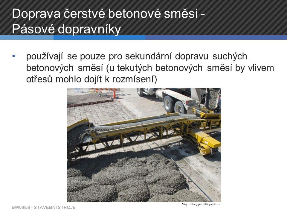 Doprava čerstvé betonové směsi - Pásové dopravníky  používají se pouze pro sekundární dopravu suchých betonových směsí (u tekutých betonových směsí by vlivem otřesů mohlo dojít k rozmísení) BW06/56 - STAVEBNÍ STROJE Zdroj: civil-engg-world.blogspot.com