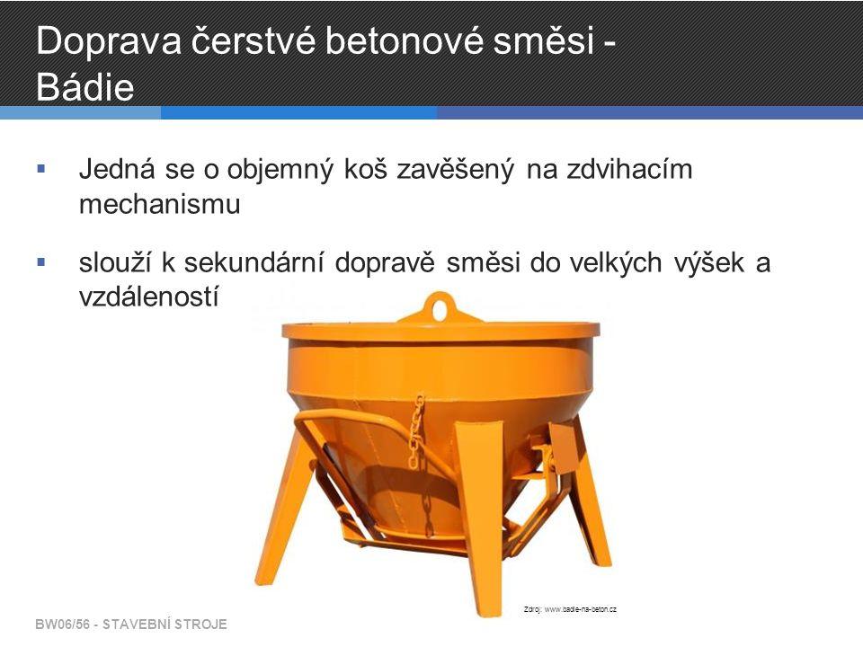 Doprava čerstvé betonové směsi - Bádie  Jedná se o objemný koš zavěšený na zdvihacím mechanismu  slouží k sekundární dopravě směsi do velkých výšek a vzdáleností BW06/56 - STAVEBNÍ STROJE Zdroj: www.badie-na-beton.cz