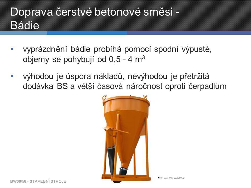 Doprava čerstvé betonové směsi - Bádie  vyprázdnění bádie probíhá pomocí spodní výpustě, objemy se pohybují od 0,5 - 4 m 3  výhodou je úspora nákladů, nevýhodou je přetržitá dodávka BS a větší časová náročnost oproti čerpadlům BW06/56 - STAVEBNÍ STROJE Zdroj: www.badie-na-beton.cz