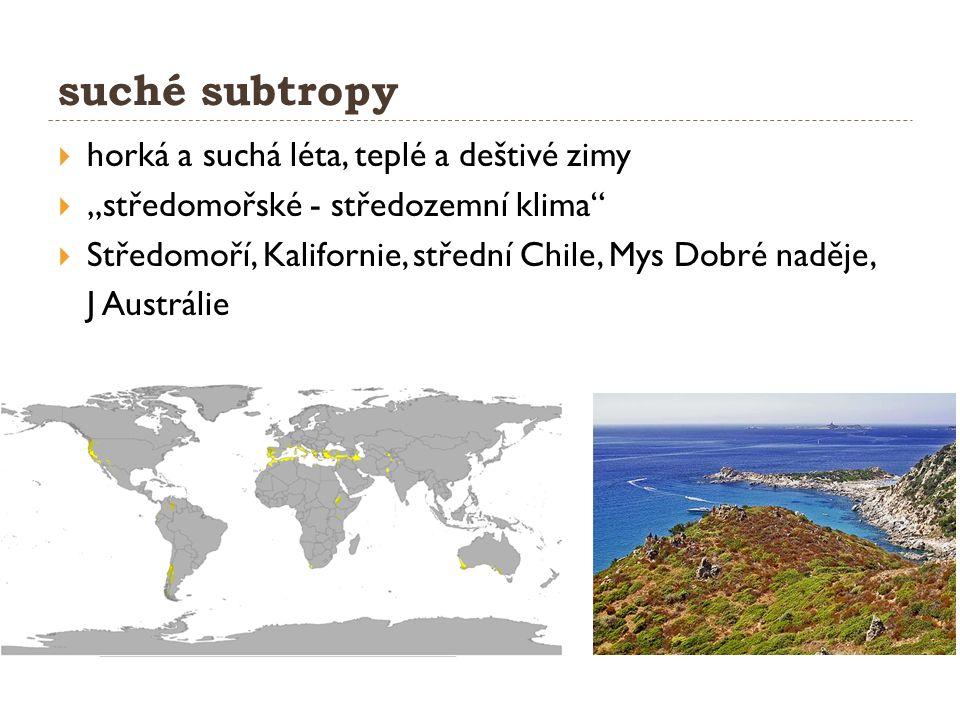 """suché subtropy  horká a suchá léta, teplé a deštivé zimy  """"středomořské - středozemní klima  Středomoří, Kalifornie, střední Chile, Mys Dobré naděje, J Austrálie"""