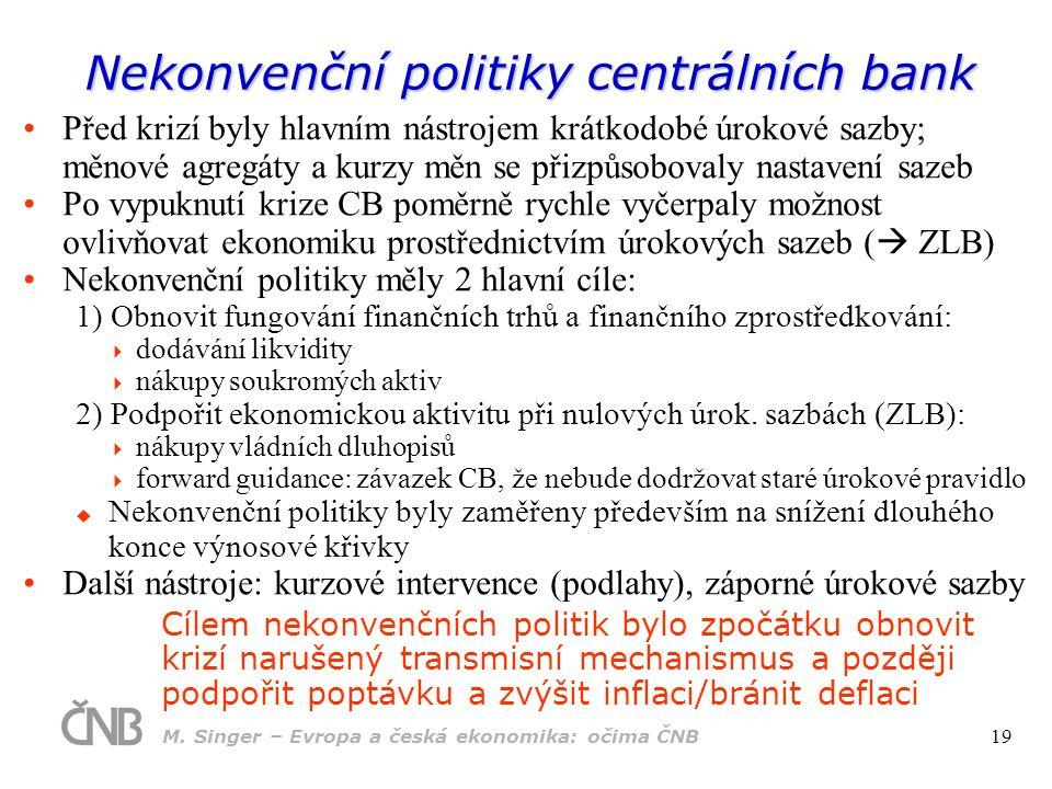 Nekonvenční politiky centrálních bank Před krizí byly hlavním nástrojem krátkodobé úrokové sazby; měnové agregáty a kurzy měn se přizpůsobovaly nastav