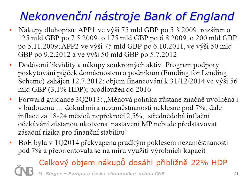 """Nekonvenční nástroje Bank of England Celkový objem nákupů dosáhl přibližně 22% HDP Nákupy dluhopisů: APP1 ve výši 75 mld GBP po 5.3.2009, rozšířen o 125 mld GBP po 7.5.2009, o 175 mld GBP po 6.8.2009, o 200 mld GBP po 5.11.2009; APP2 ve výši 75 mld GBP po 6.10.2011, ve výši 50 mld GBP po 9.2.2012 a ve výši 50 mld GBP po 5.7.2012 Dodávaní likvidity a nákupy soukromých aktiv: Program podpory poskytování půjček domácnostem a podnikům (Funding for Lending Scheme) zahájen 12.7.2012; objem financování k 31/12/2014 ve výši 56 mld GBP (3,1% HDP); prodloužen do 2016 Forward guidance 3Q2013: """"Měnová politika zůstane značně uvolněná i v budoucnu … dokud míra nezaměstnanosti neklesne pod 7%; dále: inflace za 18-24 měsíců nepřekročí 2,5%, střednědobá inflační očekávání zůstanou ukotvena, nastavení MP nebude představovat zásadní rizika pro finanční stabilitu BoE byla v 1Q2014 překvapena prudkým poklesem nezaměstnanosti pod 7% a přeorientovala se na míru využití výrobních kapacit M."""