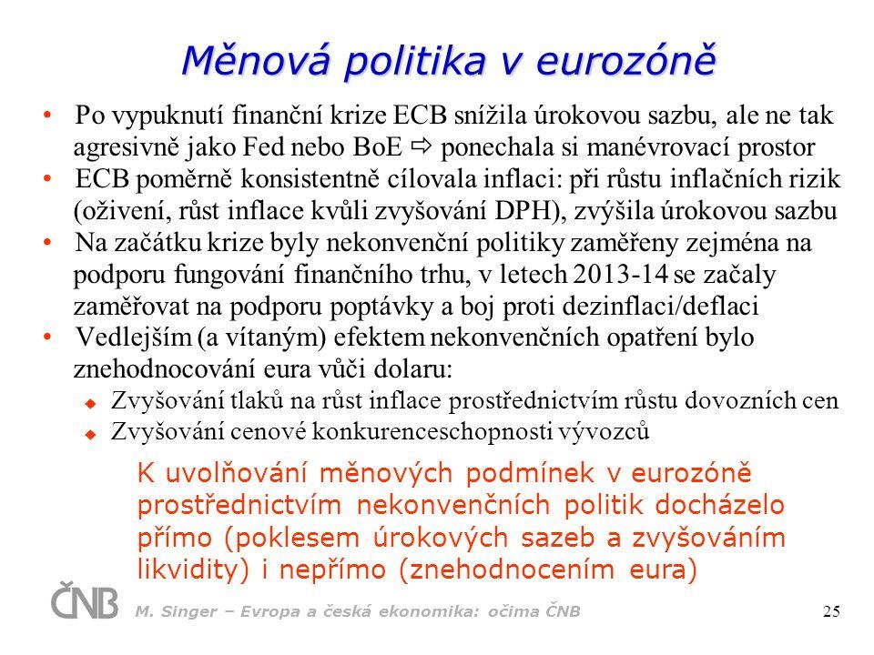 Měnová politika v eurozóně Po vypuknutí finanční krize ECB snížila úrokovou sazbu, ale ne tak agresivně jako Fed nebo BoE  ponechala si manévrovací p