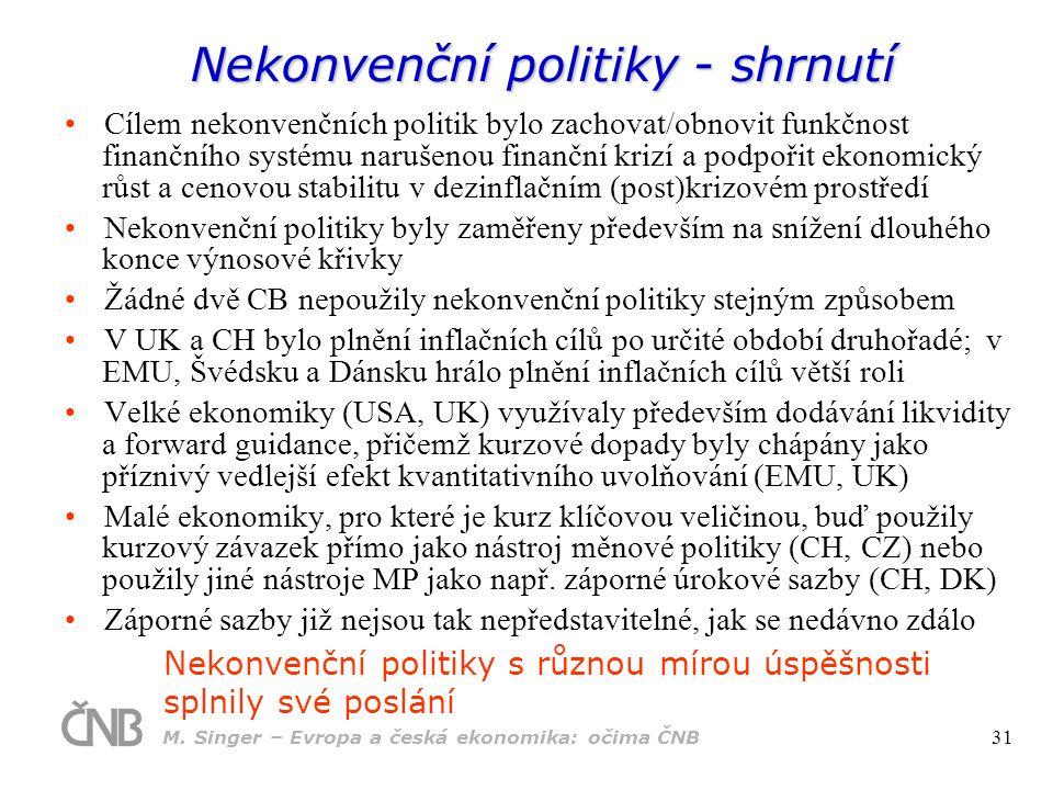 Nekonvenční politiky - shrnutí Cílem nekonvenčních politik bylo zachovat/obnovit funkčnost finančního systému narušenou finanční krizí a podpořit ekon