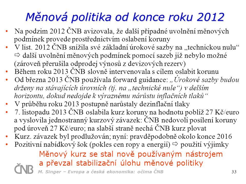 Měnová politika od konce roku 2012 Na podzim 2012 ČNB avizovala, že další případné uvolnění měnových podmínek provede prostřednictvím oslabení koruny