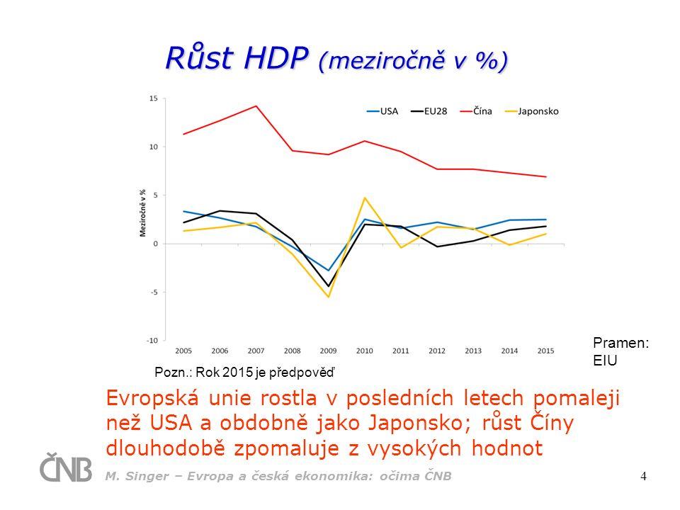 """Shrnutí vývoje v eurozóně Krize obnažila různorodé nedostatky eurozóny (ekonomická nesourodost, vysoká úroveň dluhu, strukturální strnulosti) Hlavní typy makroekonomického přizpůsobení:  důchodové přizpůsobení vnějších nerovnovah zejména periferních ekonomik  pokles domácí poptávky a zpomalení růstu  """"interní devalvace  pokles mezd a poptávky  nárůst deficitů a veřejného dluhu a následná konsolidace veřejných financí (deleveraging)  zpomalení růstu Udržitelnost těchto přizpůsobení bude podmíněna provedením strukturálních reforem a odstraněním existujících rigidit deleveraging pomalý r ů st Dědictví krize bude ovlivňovat ekonomický růst ve strukturálně slabých ekonomikách řadu let za č arovaný kruh: M."""