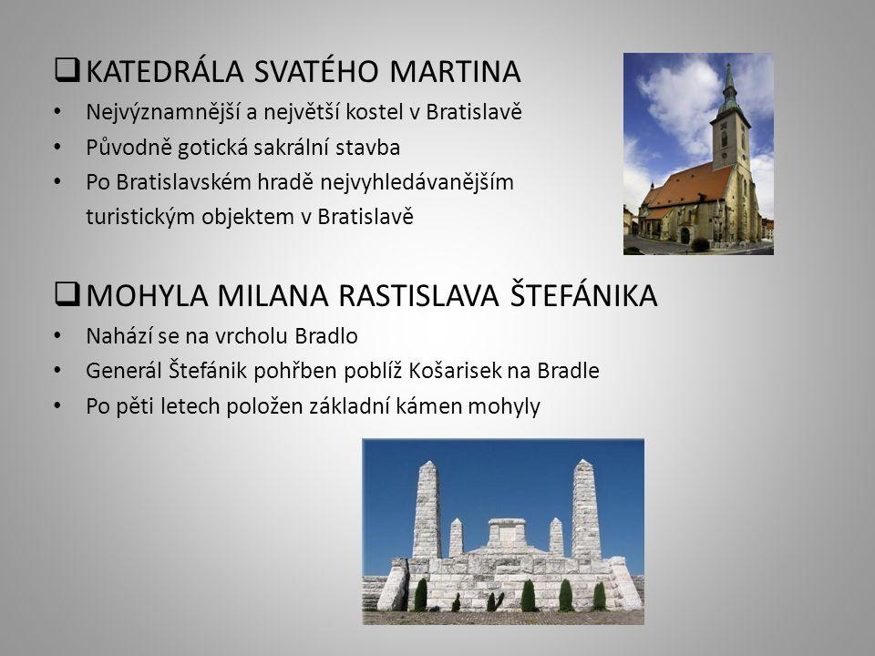  KATEDRÁLA SVATÉHO MARTINA Nejvýznamnější a největší kostel v Bratislavě Původně gotická sakrální stavba Po Bratislavském hradě nejvyhledávanějším turistickým objektem v Bratislavě  MOHYLA MILANA RASTISLAVA ŠTEFÁNIKA Nahází se na vrcholu Bradlo Generál Štefánik pohřben poblíž Košarisek na Bradle Po pěti letech položen základní kámen mohyly