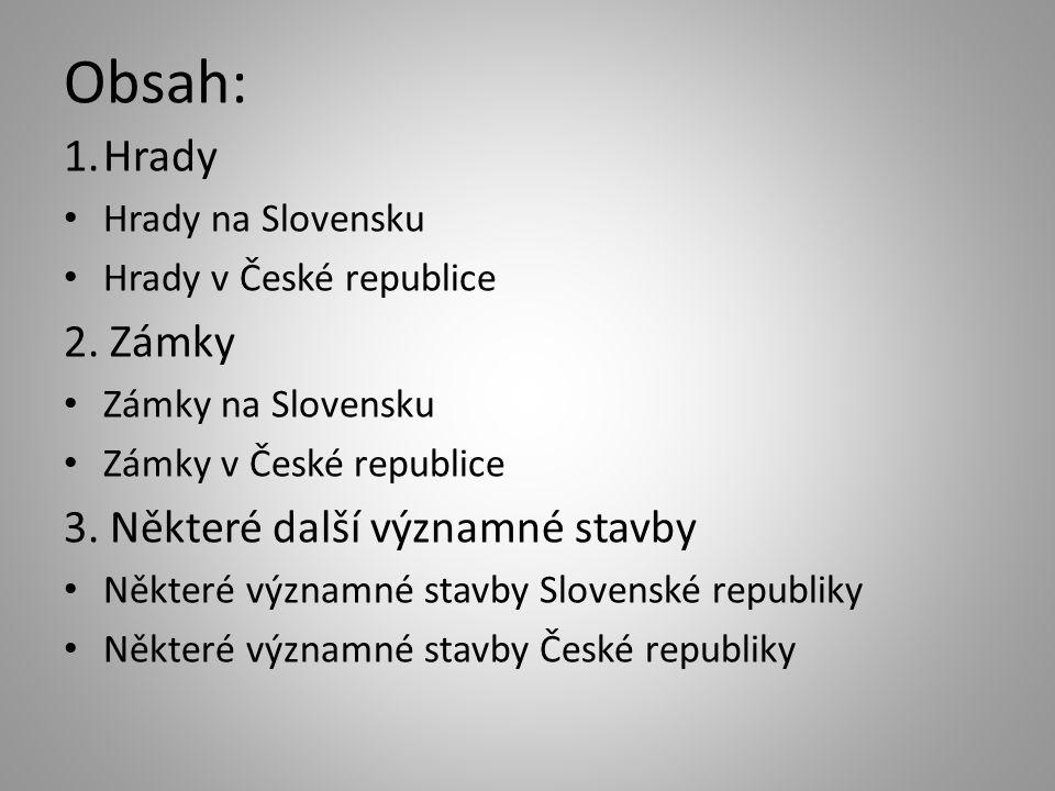 Obsah: 1.Hrady Hrady na Slovensku Hrady v České republice 2.
