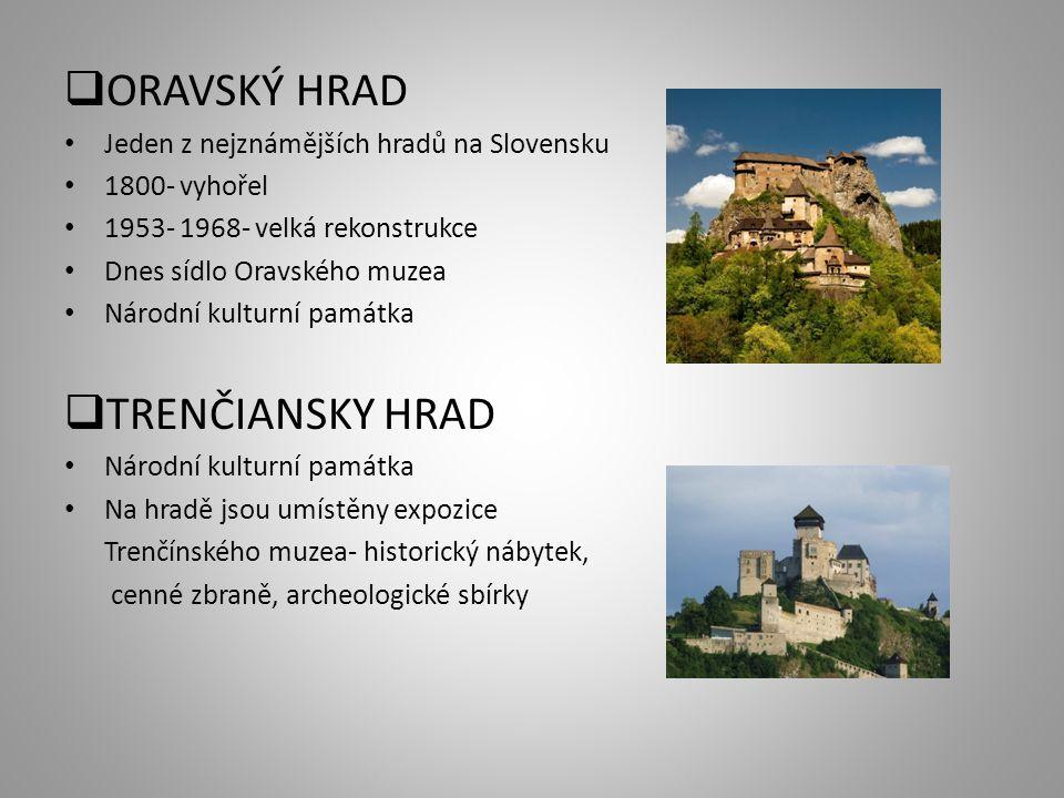  ORAVSKÝ HRAD Jeden z nejznámějších hradů na Slovensku 1800- vyhořel 1953- 1968- velká rekonstrukce Dnes sídlo Oravského muzea Národní kulturní památ