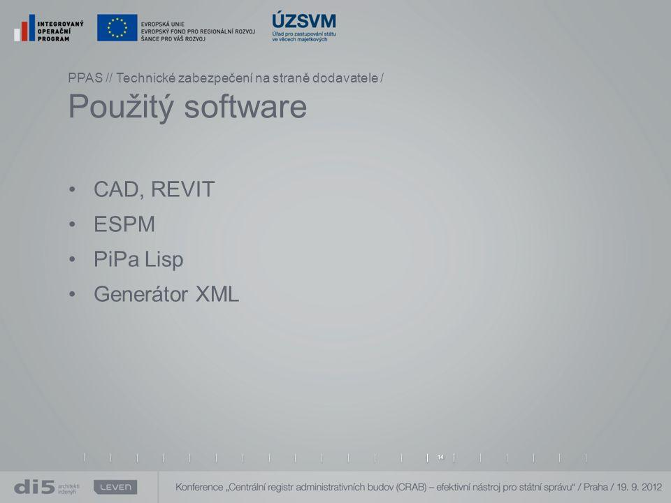 CAD, REVIT ESPM PiPa Lisp Generátor XML CAD, REVIT specializované editory vektorové grafiky ESPM databázový nástroj s proprietální grafickou nadstavbou Generátor XML souborů z databáze ESPM PPAS // Technické zabezpečení na straně dodavatele / Použitý software 14 PiPa Lisp nástroj pro zajištění korektní struktury CAD dle metodiky