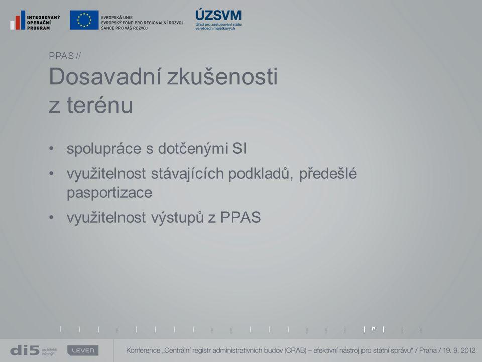 PPAS // Dosavadní zkušenosti z terénu spolupráce s dotčenými SI využitelnost stávajících podkladů, předešlé pasportizace využitelnost výstupů z PPAS 17