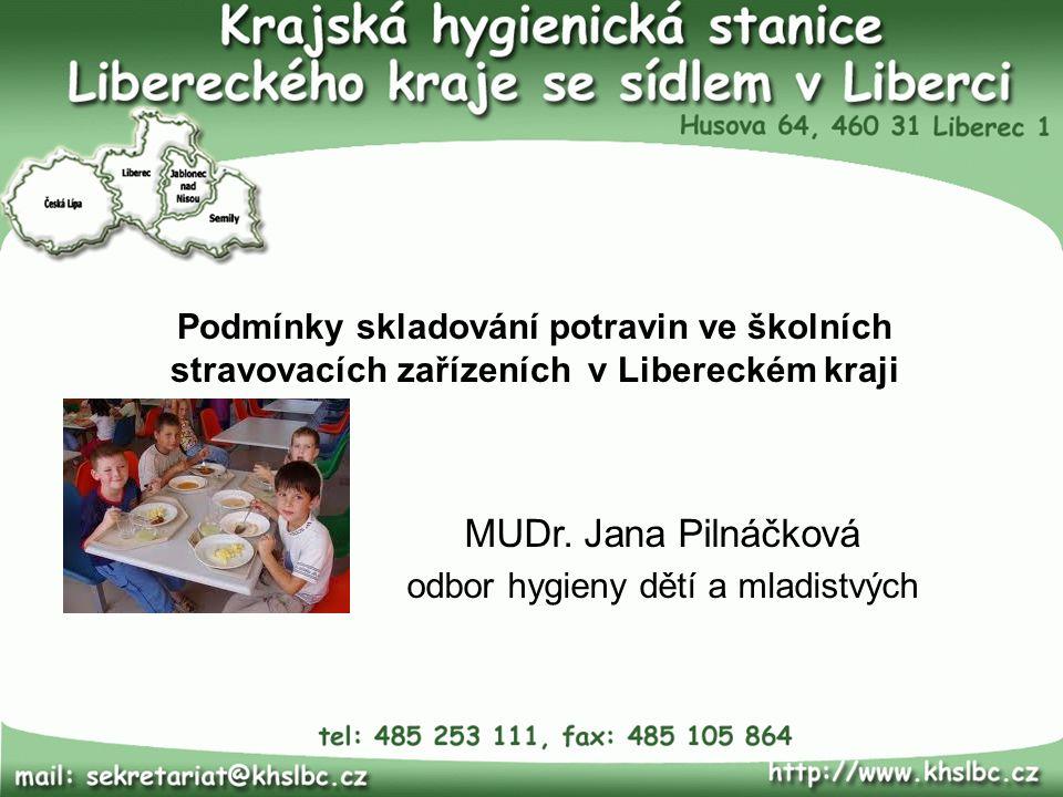 Podmínky skladování potravin ve školních stravovacích zařízeních v Libereckém kraji MUDr.