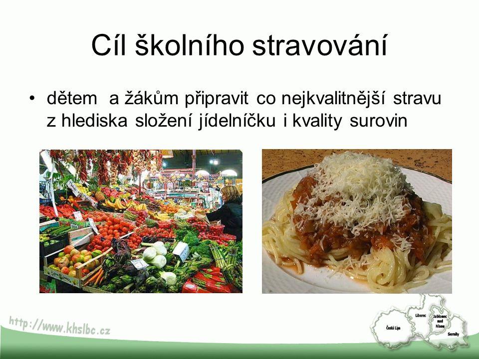 Cíl školního stravování dětem a žákům připravit co nejkvalitnější stravu z hlediska složení jídelníčku i kvality surovin