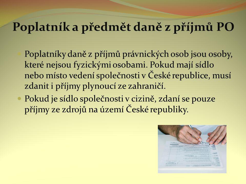 Poplatník a předmět daně z příjmů PO Poplatníky daně z příjmů právnických osob jsou osoby, které nejsou fyzickými osobami.