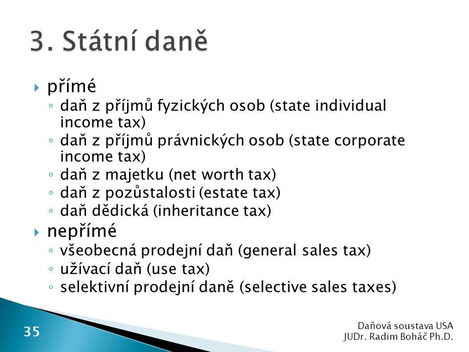  přímé ◦ daň z příjmů fyzických osob (state individual income tax) ◦ daň z příjmů právnických osob (state corporate income tax) ◦ daň z majetku (net