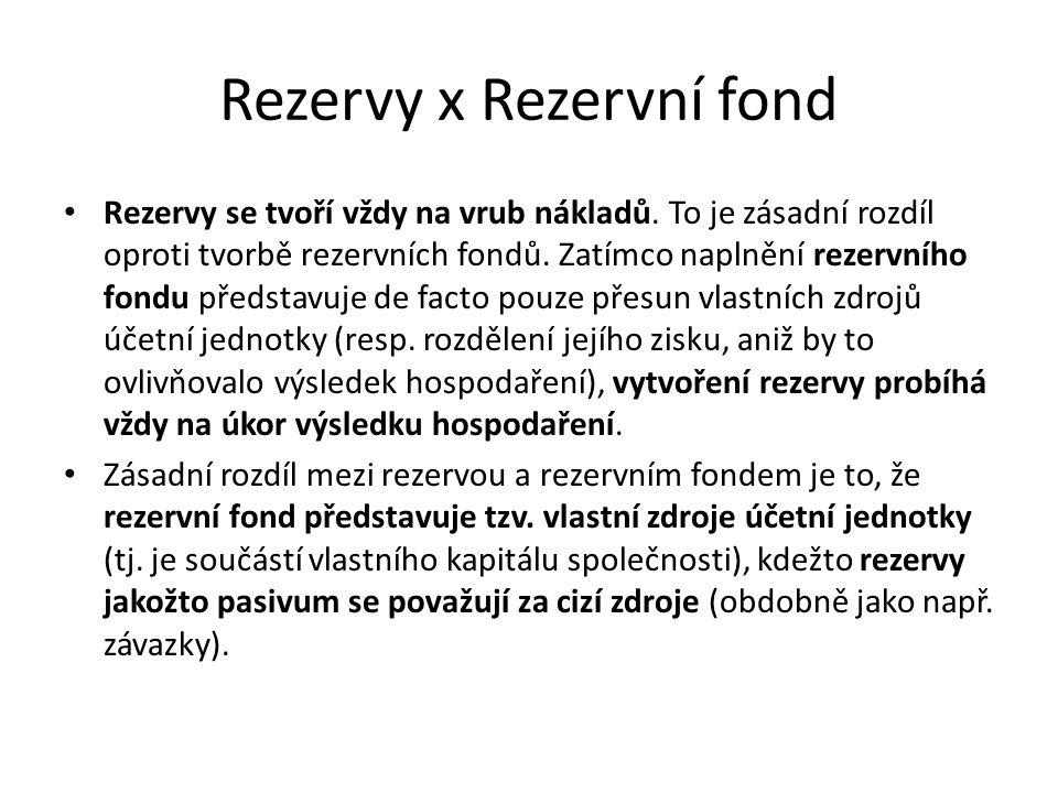 Rezervy x Rezervní fond Rezervy se tvoří vždy na vrub nákladů.
