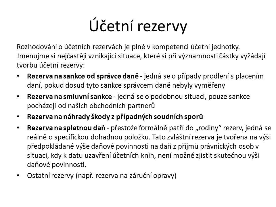 Účetní rezervy Rozhodování o účetních rezervách je plně v kompetenci účetní jednotky.