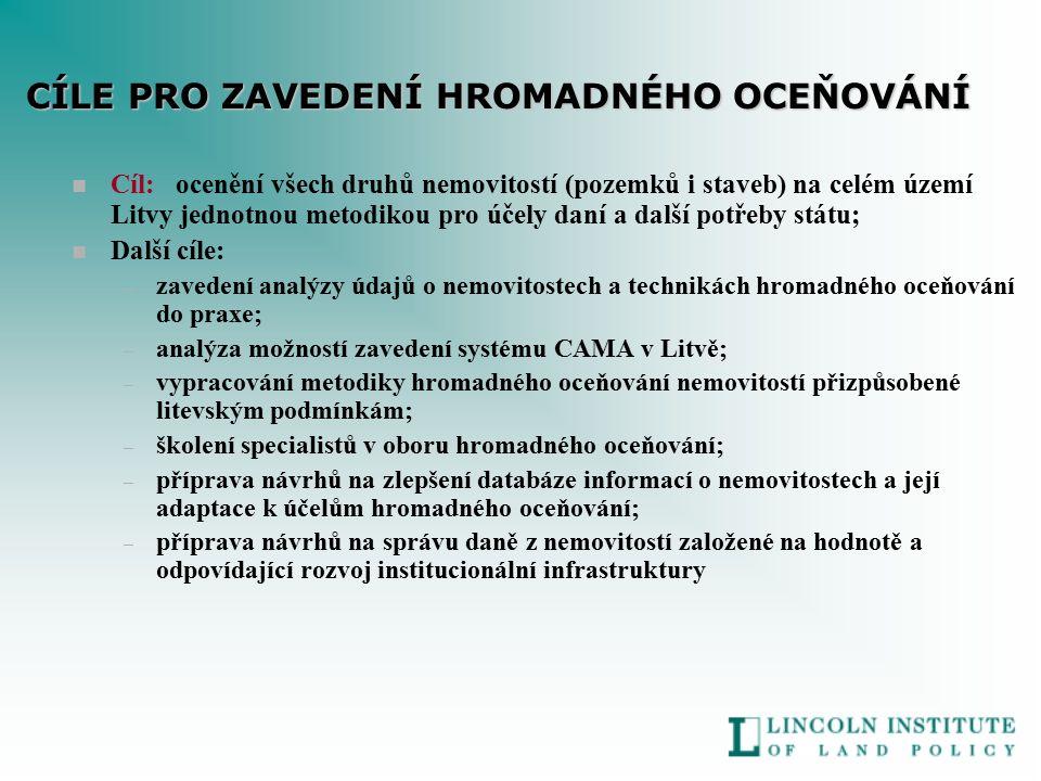 n Cíl: ocenění všech druhů nemovitostí (pozemků i staveb) na celém území Litvy jednotnou metodikou pro účely daní a další potřeby státu; n Další cíle: – zavedení analýzy údajů o nemovitostech a technikách hromadného oceňování do praxe; – analýza možností zavedení systému CAMA v Litvě; – vypracování metodiky hromadného oceňování nemovitostí přizpůsobené litevským podmínkám; – školení specialistů v oboru hromadného oceňování; – příprava návrhů na zlepšení databáze informací o nemovitostech a její adaptace k účelům hromadného oceňování; – příprava návrhů na správu daně z nemovitostí založené na hodnotě a odpovídající rozvoj institucionální infrastruktury CÍLE PRO ZAVEDENÍ HROMADNÉHO OCEŇOVÁNÍ